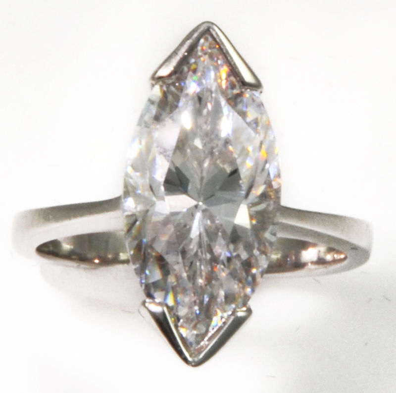4 ct Marquise Ring Vintage Top Russian CZ Moissanite Simulant SS Size 10