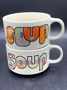 Vintage-stoneware-Retro-Mushroom-Vegetable-Themed-Stack-able-Soup-Mugs