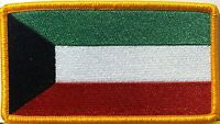 Kuwait Flag Embroidered Iron-on Patch Military Emblem Gold Border