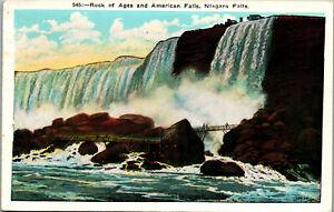 Rock-of-Ages-American-Falls-Niagra-Falls-N-Y-1935-Vintage-Postcard-AA-003
