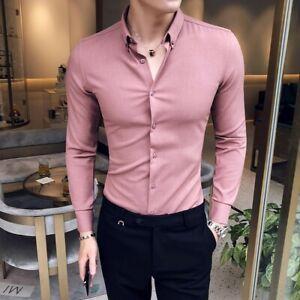 British-Stylish-Mens-Solid-Shirt-SLim-Fit-Stretch-Casula-Korean-Long-Sleeve