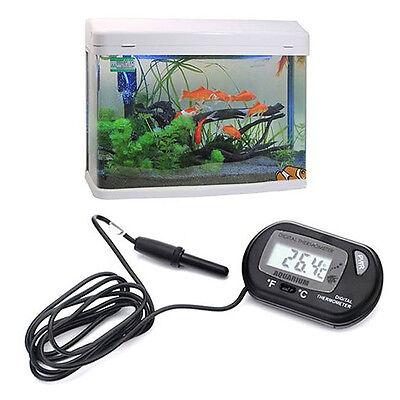 LCD Digital Fish Aquarium Thermometer Water Terrarium FREE Extra Battery DE