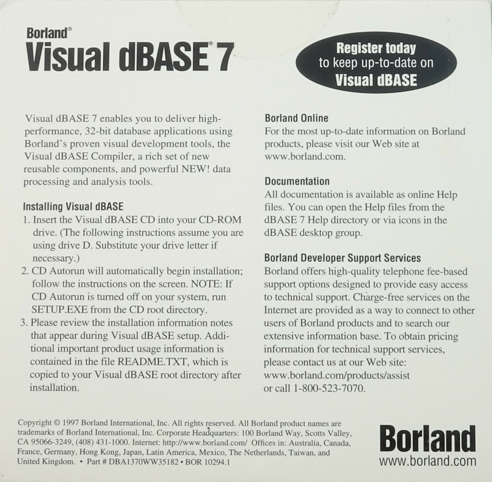 Borland Visual dBase 7 Professional Compiler 32-BIT BOR10294 NEW