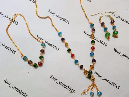 Crystal Glass Rhinestone fashion Beads Necklace Chain set gift bracelet