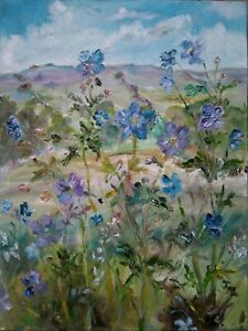 ORIGINAL-SIGNED-Meadow-Cranesbill-Wensleydale-Yorkshire-Dales-OIL-PAINTING
