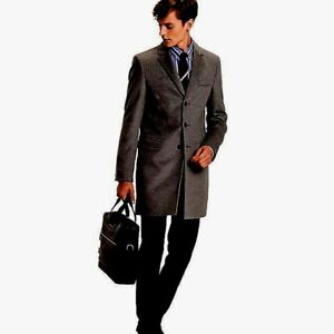 283fbf30 $599 TOMMY HILFIGER Men's GRAY WOOL PEACOAT TOP COAT OVERCOAT WARM ...
