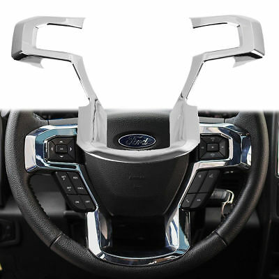 2015 F150 Accessories >> Fit Ford F150 Steering Wheel Moulding Chrome Cover Trims Accessories 2015 2018 Ebay