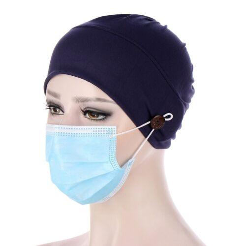 Sommeil Bonnet Chapeau Soirée Dames Head Cover foulard turban musulman Cap avec bouton