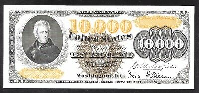Back of 1878 $10,000 U.S Note Proof Print by the BEP