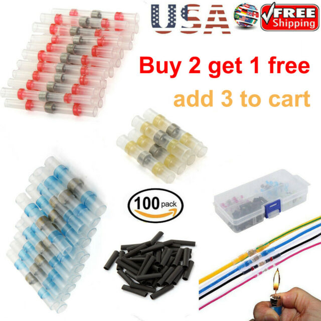 50//100Pcs Solder Seal Heat Shrink Butt Wire Connector Waterproof Terminal Tube
