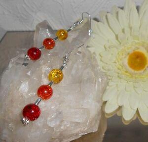 TRENDY-Ohrschmuck-CRACKLE-GLAS-Perlen-ROT-ORANGE-GELB