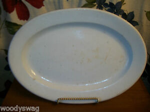 Vitrified-Ironstone-Platter-Primitive-Country-Large-17-1-2-inch-Marked-White