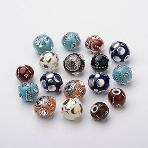 10 Pcs Orchid Handmade Indonesia Round Beads with Glass Cabochons 14~15x15~16mm