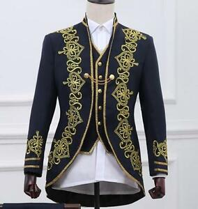 a5fcddb4b04 men s embroidery floral gold military stage show jacket suit 3PC ...