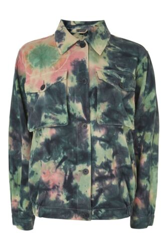TopshopTie Dye Print Jacket Shacket Coat Shirt Denim Look Multi Colour