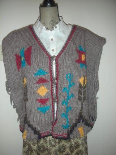 Hand-Knit Vintage Wool Vest - Southwestern Motif -