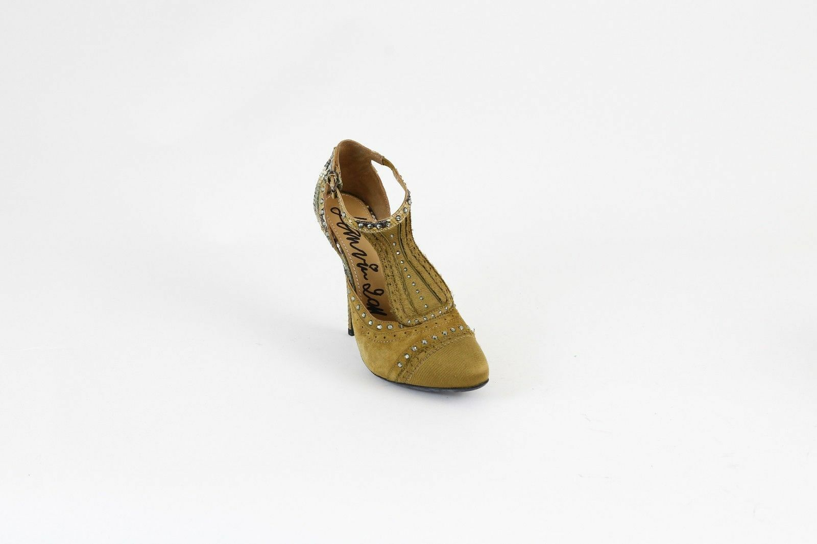 New New New Lanvin Tan Suede schuhe With Scaled Leather Heel & Studded T Strap 39 9  1800 db979a