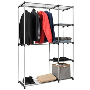 Image Is Loading Portable Closet Garment Rack Wardrobe Clothes Shelves Storage