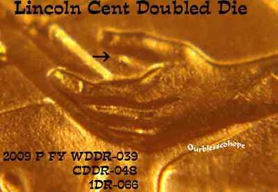2009 Lincoln WDDR-009 or 019or 091 Formative Years Doubled Die Error Cent