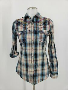 Roar-Womens-Pearl-Snap-Plaid-Shirt-Bling-Embroidered-Size-Small-Western-Cowgirl