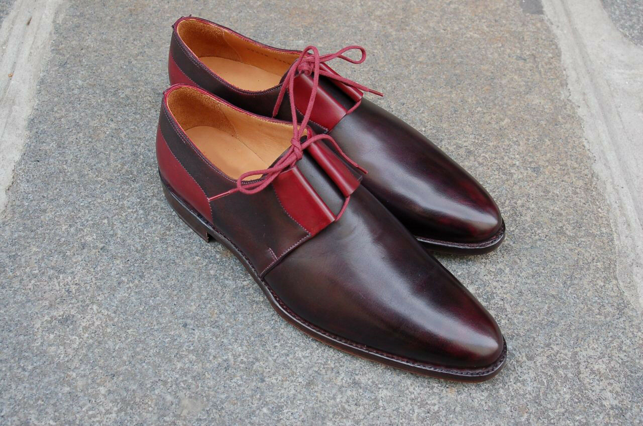 Handmade Men's Genuine Brown & Red Leather Two Tone Brogue Derby Lace Up shoes