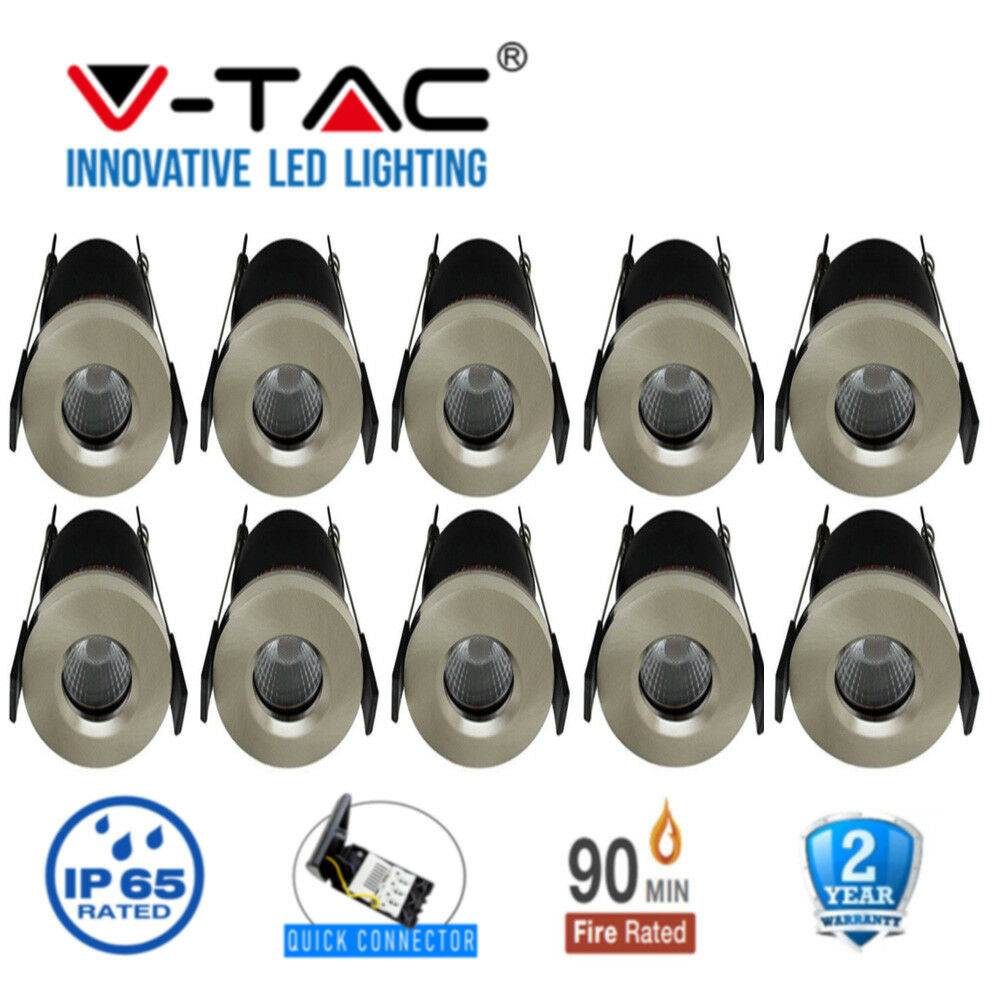 LED Fire Rated Downlight Satin Chrome 7W IP65 Waterproof  V-TAC Dimmable X 10