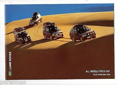 """""""land Rover"""" 2000 Tutti I Modelli E Accessori Listino Prezzi.-"""