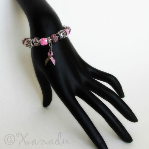 Hope Pink Ribbon Breast Cancer Awareness Charm Bracelet w// Survivor Ribbon Charm