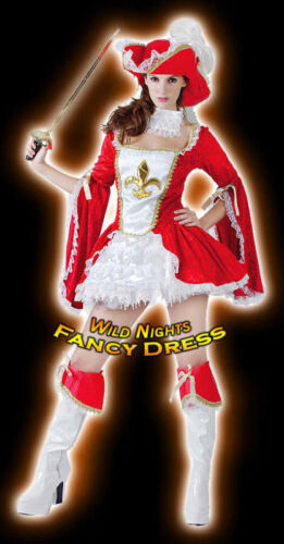 FANCY DRESS FUN DLX RED MUSKETEER LADY MED 12-14