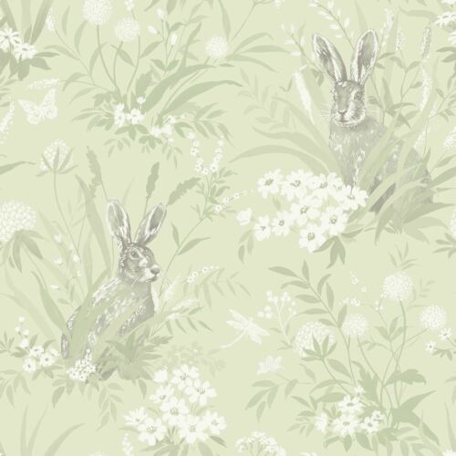 WILDFLOWERS 90881 HOLDEN AYLA HARES WALLPAPER PALE GREEN WOODLAND