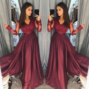 4157003721f Burgundy Lace V Neck Applique Beaded Prom Dress Long Sleeve Formal ...