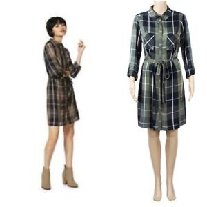 Ex-F-amp-F-Ladies-KHAKI-NAVY-Mix-Check-Shirt-Dress-Size-6-22