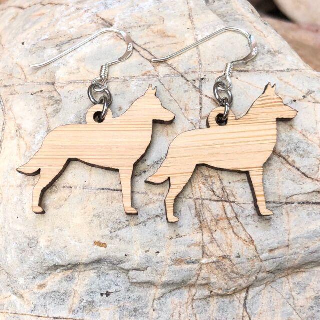 Belgian Malinois Bamboo Wood Dog Earrings, Sterling Silver 925 Earwire Jewellery
