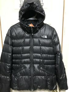 THE-NORTH-FACE-550-Fill-Down-Coat-Jacket-Hooded-Black-Puffer-Girls-XL-18