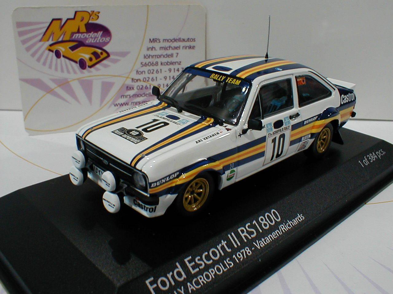 Minichamps 400808410   ford escort II rs1800    10 acropolisrally 1980 vatanen 1 43  ganancia cero