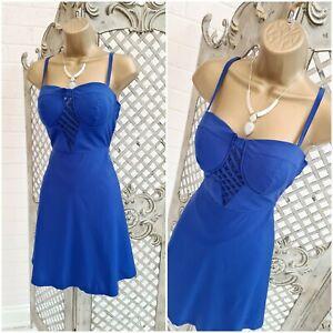BOOHOO 💋 UK 10 New Mildred Cobalt Lattice Fit & Flare Mini Dress ~Free P&P~