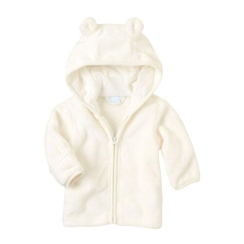 Newborn Baby Kids Boys Girls Coral Fleece Hooded Coat Warm Jacket Outerwear Coat