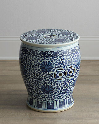 BLUE AND WHITE TWISTED LOTUS CHINESE GARDEN STOOL, Indoor / Outdoor,  HORCHOW | EBay