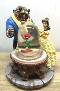 Vintage-Disney-Beauty-And-The-Beast-Rose-Musical-Snow-Globe-1991-Tested-Working