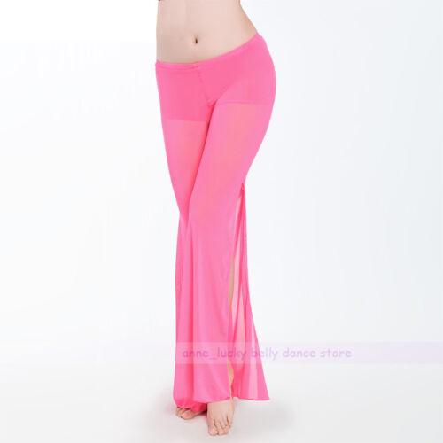 New Belly Dance Pants Bilateral Opening Mesh Pants Trousers Yoga Pants 7 colors