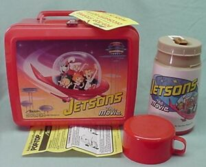 Vintage-Unused-with-tag-Jetson-039-s-The-Movie-1990-plastic-lunch-box-and-thermos