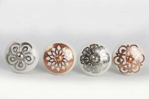 Image Is Loading White Copper Silver Ceramic Drawer Pull Cupboard China