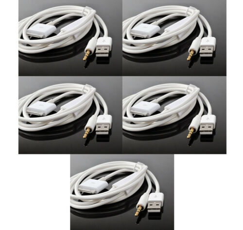 5X 4FT USB 3.5MM AUX SYNC CHARGER WHITE CABLE IPHONE 4S 4 IPOD TOUCH NANO IPAD