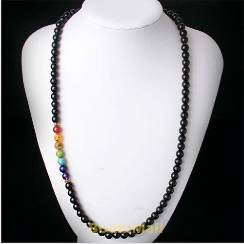 7 Chakra Black Agate Meditaition Healing Balance Reiki Prayer 75cm Necklace