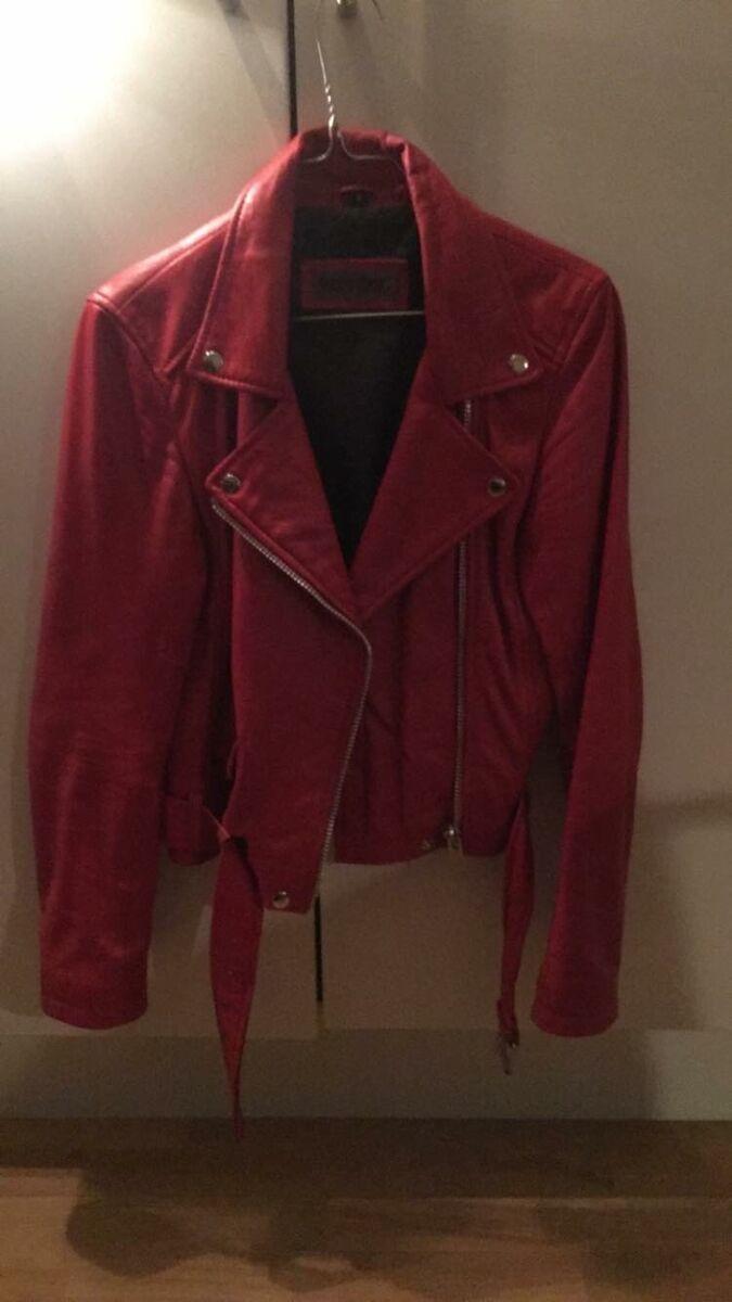 meotine rød læderjakke