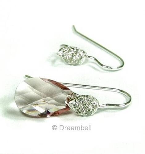 2x Sterling Silver Leaf earwire Cz Gancho francés Bail se513w