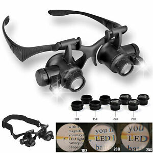 8-Lens-Magnifier-Magnifying-Eye-Glass-Jeweler-Watch-Repair-Loupe-LED-Light
