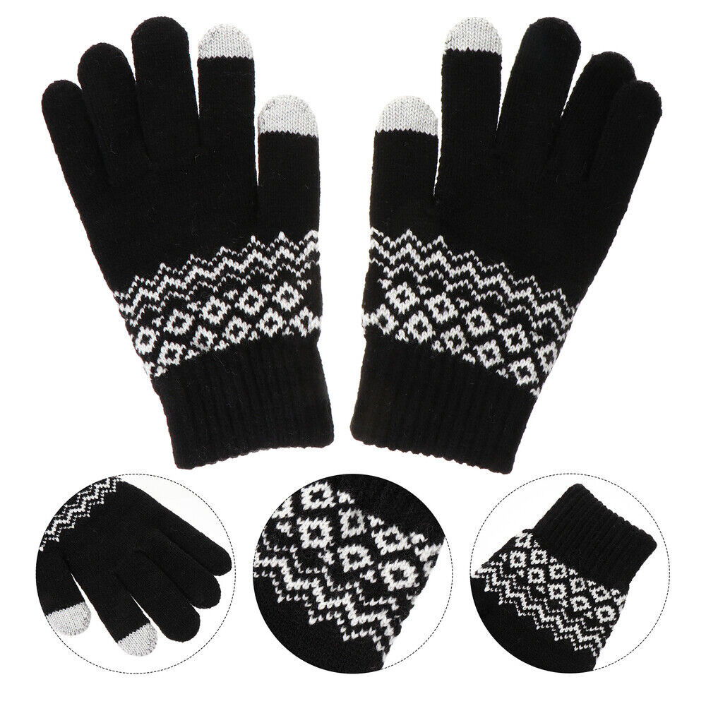 1 Pair Winter Warm Thickened Knitted Woven Touch Screen for Men Women