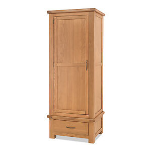 Image is loading Sallis-Oak-Single-Wardrobe-with-Drawer-Bedroom-Solid-  sc 1 st  eBay & Sallis Oak Single Wardrobe with Drawer Bedroom Solid Wood Storage ...