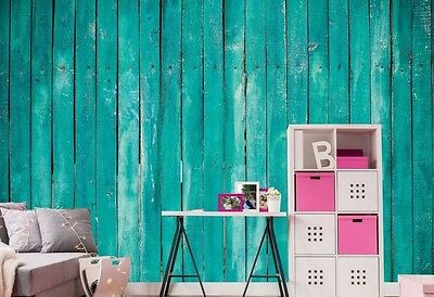 Turquoise Rustic Wood Planks -12'W by 8'H-Wall Mural